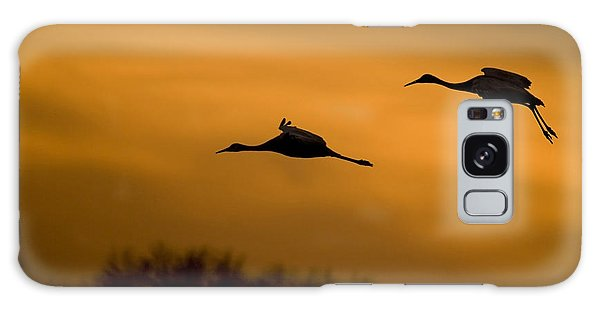 Cranes At Sunset Galaxy Case by Larry Bohlin