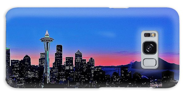 Crescent Moon Over Seattle Galaxy Case by Benjamin Yeager