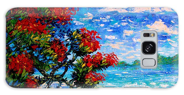 Crimson Bloom Red Flower Tree At The Beach Blue Sky Landscape Galaxy Case