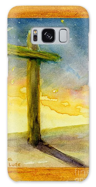 Cross At Dawn In Blue And Gold Sunrise Galaxy Case