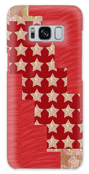 Cross Through Sparkle Stars On Red Silken Base Galaxy Case
