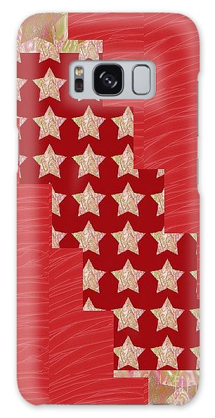 Cross Through Sparkle Stars On Red Silken Base Galaxy Case by Navin Joshi