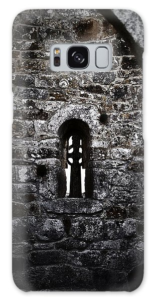 Crosses And Stone Walls At Clonmacnoise Galaxy Case by Nadalyn Larsen