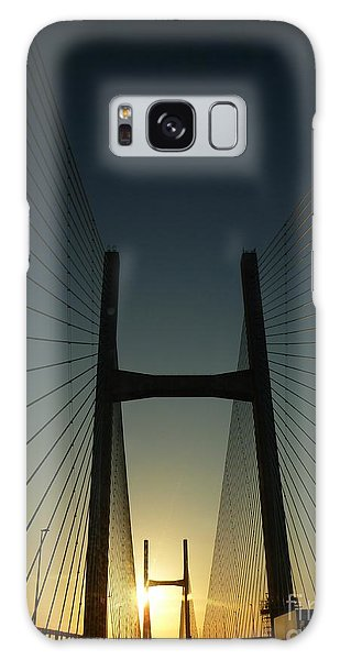 Crossing The Severn Bridge At Sunset - Cardiff - Wales Galaxy Case by Vicki Spindler