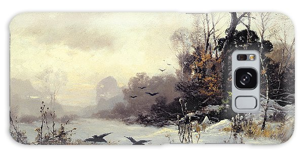 Crows In A Winter Landscape Galaxy Case