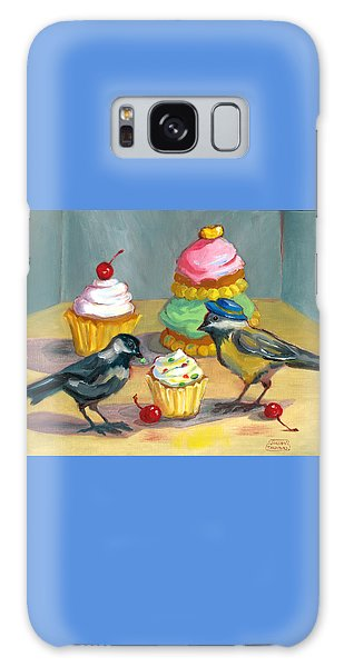 Cupcakes And Chickadees Galaxy Case by Susan Thomas