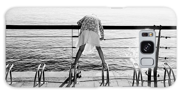 Curious Girl By The Sea Galaxy Case by Dean Harte