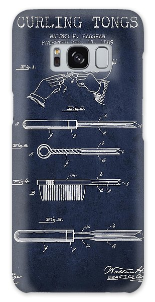 Galaxy Case - Curling Tongs Patent From 1889 - Navy Blue by Aged Pixel