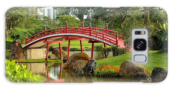 Curved Red Japanese Bridge And Stream Chinese Gardens Singapore Galaxy Case