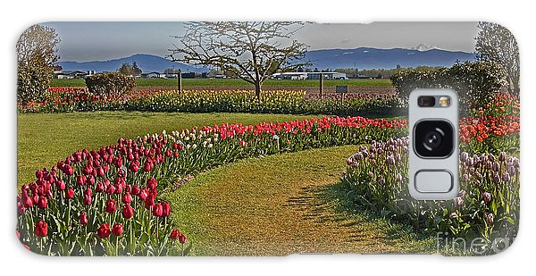 Curved Rows Of Tulip Landscape Galaxy Case