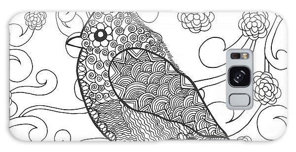 Indian Head Galaxy Case - Cute Bird In Fantasy Flower Garden by Palomita