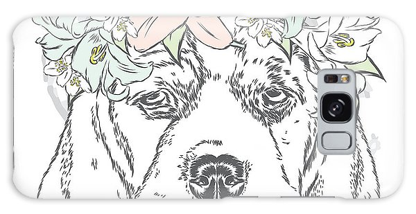 T-shirts Galaxy Case - Cute Dog In A Wreath Of Roses . Vector by Vitaly Grin