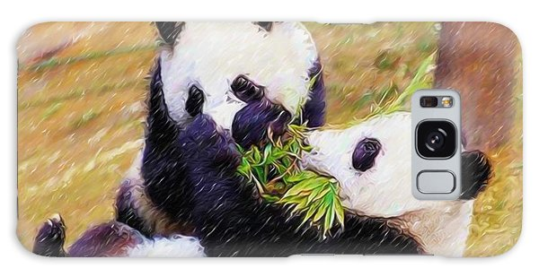 Cute Pandas Play Together Galaxy Case by Lanjee Chee