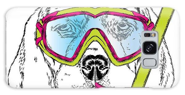 T-shirts Galaxy Case - Cute Puppy Wearing A Mask For Diving by Vitaly Grin