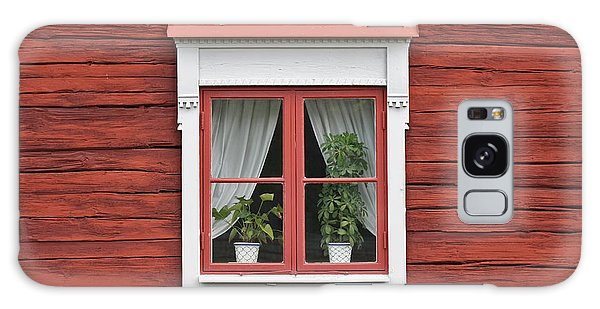 Cute Window On Red Wall Galaxy Case