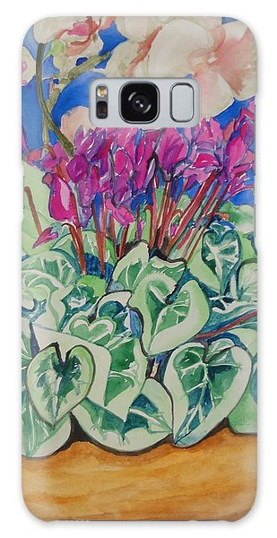 Cyclamen And Orchids In A Flower Pot Galaxy Case by Esther Newman-Cohen