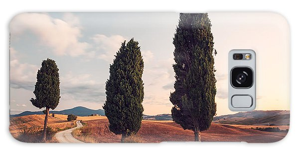 Cypress Lined Road In Tuscany Galaxy Case by Matteo Colombo