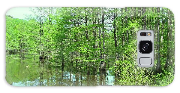 Bright Green Cypress Trees Reflection Galaxy Case by Belinda Lee
