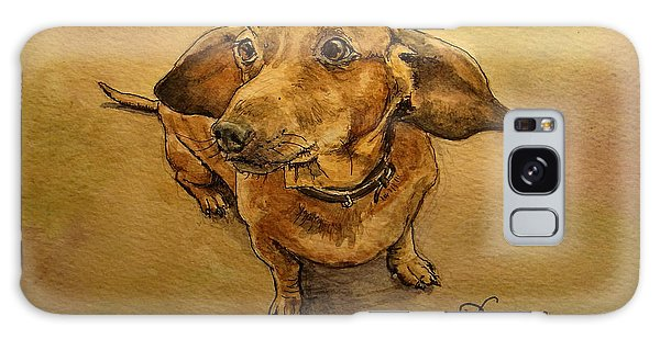 Watercolor Pet Portraits Galaxy Case - Dachshund by Juan  Bosco