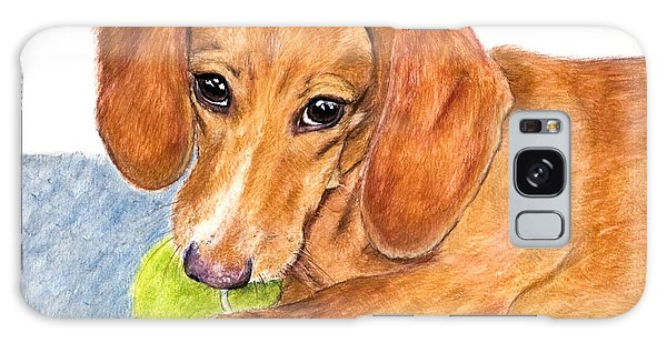 Dachshund With Tennis Ball Galaxy Case by Kate Sumners