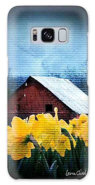 Daffodils And A Red Barn Galaxy Case