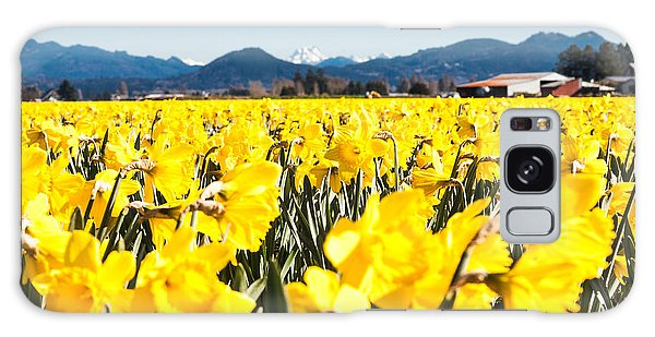 Daffodils And Snow-capped Mountains Galaxy Case