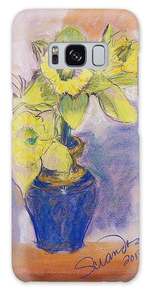 Daffodils In Blue Italian Vase Galaxy Case by Sciandra