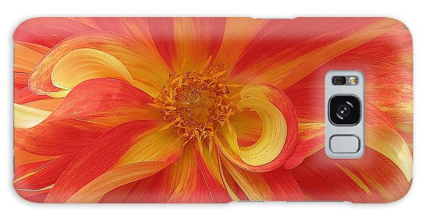 Dahlia Unfurling In Yellow And Red Galaxy Case by Dora Sofia Caputo Photographic Art and Design