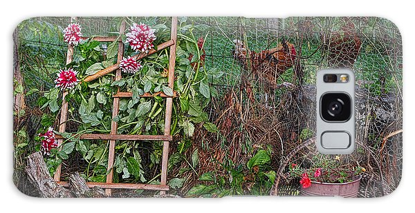 Dahlias And Chickens Galaxy Case by Denise Romano
