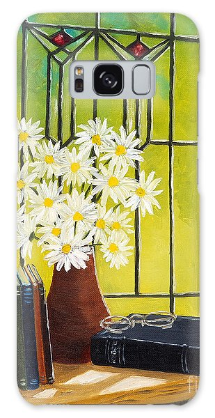 Daisies And Stained Glass Window Galaxy Case by Val Miller
