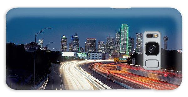 Dallas Night Skyline Light Trails Galaxy Case