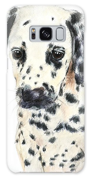 Dalmatian Puppy Painting Galaxy Case by Kate Sumners