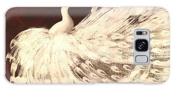 Dancing Peacock Cream Galaxy Case by Anita Lewis