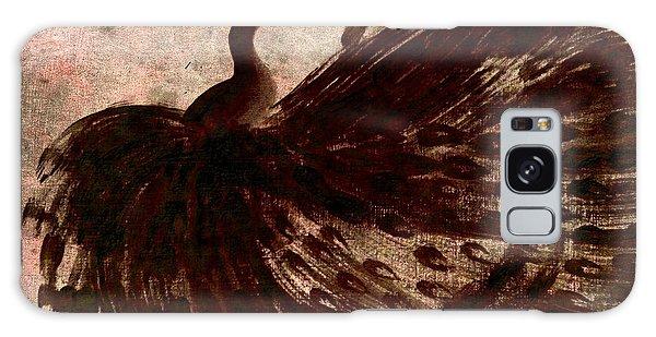 Dancing Peacock Grey Galaxy Case by Anita Lewis