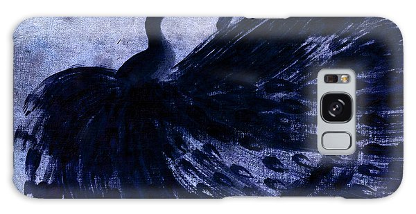 Dancing Peacock Navy Galaxy Case by Anita Lewis