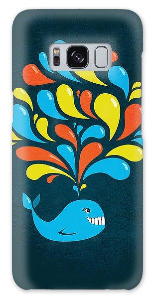 Dark Colorful Splash Happy Cartoon Whale Galaxy Case