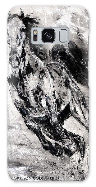 Dark Horse Contemporary Horse Painting Galaxy Case