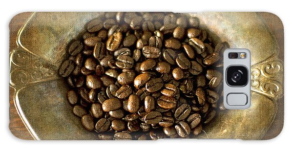Dark Roast Coffee Beans And Antique Silver Galaxy Case