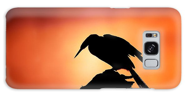 Bird Galaxy Case - Darter Silhouette With Misty Sunrise by Johan Swanepoel