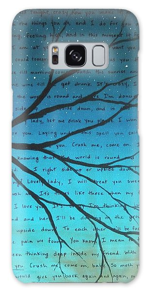 Song Galaxy Case - Dave Matthews Band Crush Lyric Art - Blue by Michelle Eshleman