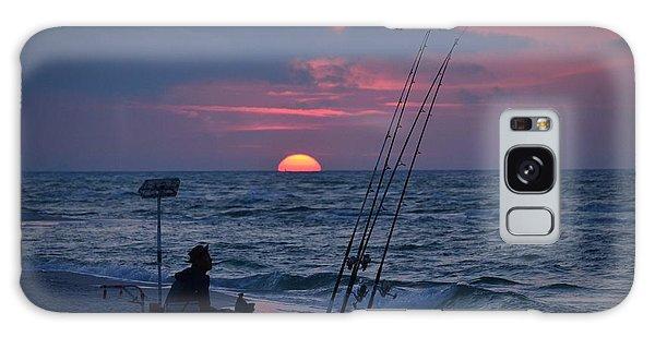 Daybreak On Navarre Beach With Deng The Fisherman Galaxy Case by Jeff at JSJ Photography