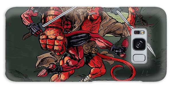 Deadpool Vs Hellboy Galaxy Case by John Ashton Golden