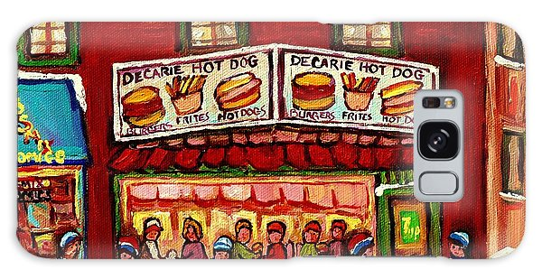 Decarie Hot Dog Restaurant Cosmix Comic Store Montreal Paintings Hockey Art Winter Scenes C Spandau Galaxy Case