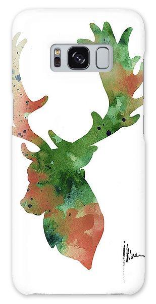 Deer Galaxy Case - Deer Antlers Silhouette Watercolor Art Print Painting by Joanna Szmerdt