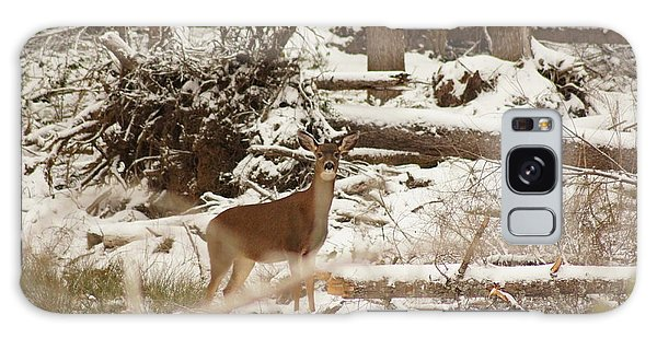 Deer In Snow Galaxy Case by Angi Parks