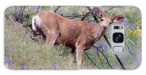 Deer In Wildflowers Galaxy Case by Athena Mckinzie