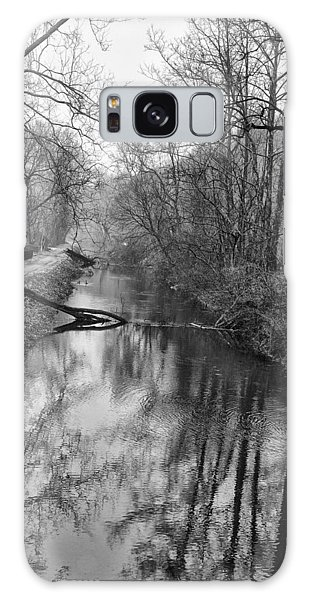 Black Buck Galaxy Case - Delaware Canal In Black And White by Bill Cannon