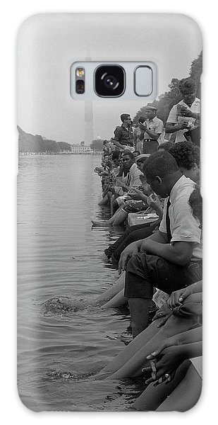 March On Washington Galaxy Case - Demonstrators Sit Along The Reflecting by Stocktrek Images
