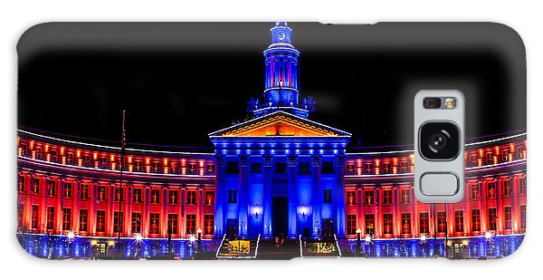 Denver City And Country Building In Bronco Blue And Orange Galaxy Case