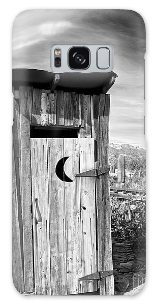 Desert Outhouse Under Stormy Skies Galaxy Case